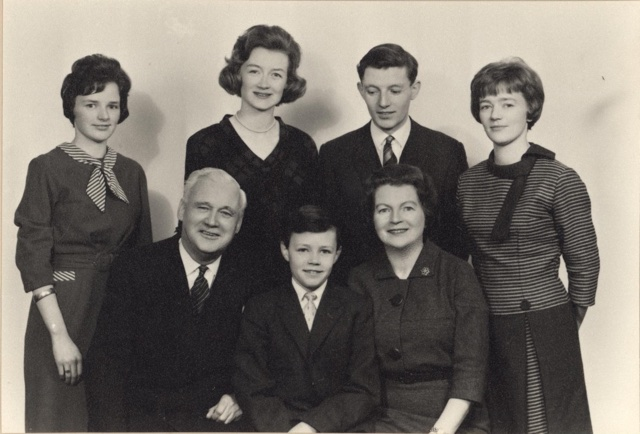 The Clery family, c. 1957. Rear: Ethna Jr, Joan, Dick, Georgina. Front: George, Gabriel, Ethna Sr.
