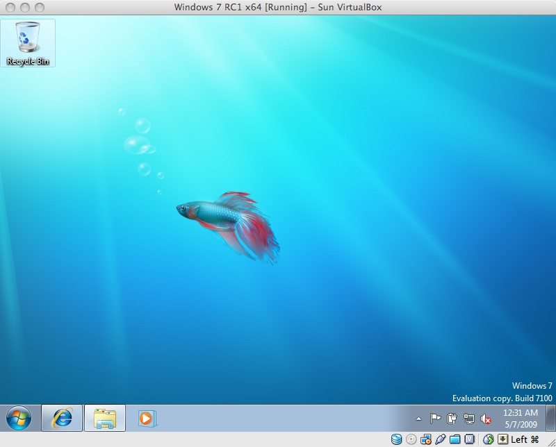 Windows 7 x64 running in Mac VirtualBox 2.2.2